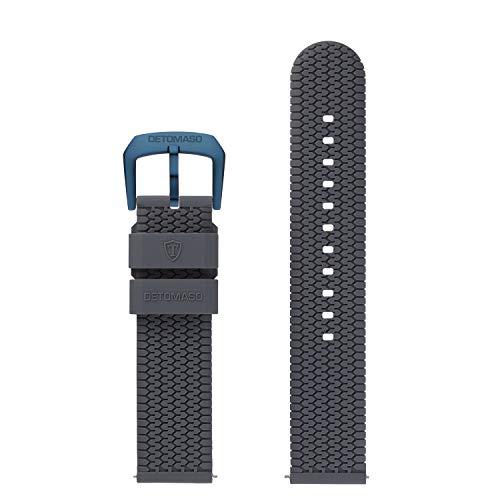 DETOMASO Uhrenarmband Silikon-Armband 20mm 22mm 24mm mit Schnellwechsel Federsteg und Dornschließe (20mm, grau- dunkel Blaue Schließe)