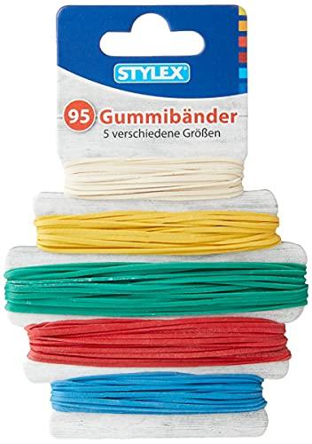Stylex 31321 - Gummibänder, 95 Stück in 5 verschiedene Farben und Größen im Durchmesser von 45 mm, 60 mm, 65 mm, 75 mm, 90 mm sortiert
