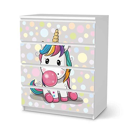 creatisto Möbelfolie für Kinder - passend für IKEA Malm Kommode 4 Schubladen I Tolle Möbeldeko für Kinderzimmer Deko I Design: Rainbow das Einhorn