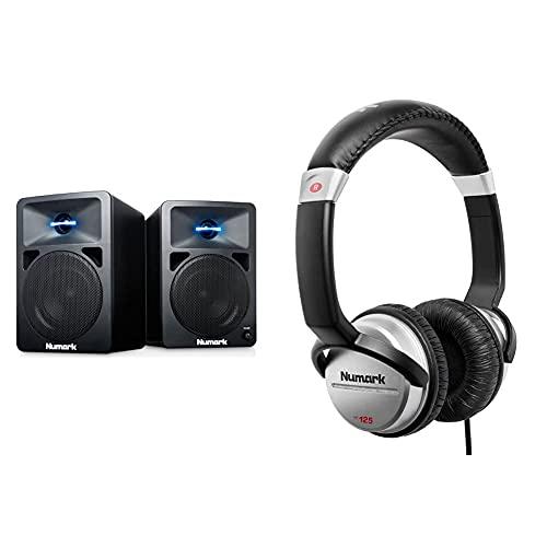 Numark N-Wave 360 Monitores de DJ de Sobremesa Compactos de Rango Completo y 60 W con Iluminacion LED en el Tweeter + HF125 Auriculares de DJ Profesionales...