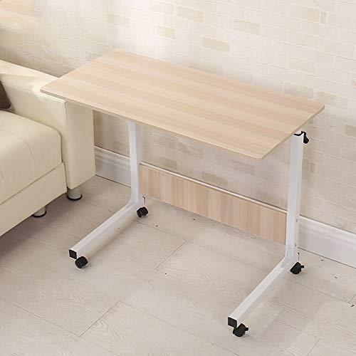 AJMINI lade tafel, verstelbare bank zijbed tafel draagbare bureau met wielen overbed tafel Laptop Cart, oude eik