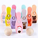 TANOSHII Kids Bowling Set, Made of Wood, Perfect As Toy Gifts, Early Education and Indoor Bowling Set for Kids. This Hilariously Bowling Games, Including 2 Balls and 9 Pins(6.2Inches Tall)