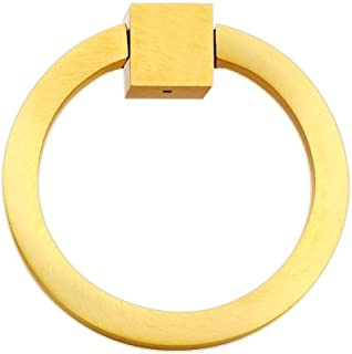 """Modern Design & Sturdy Ring Pull Round 3"""", Solid Brass Round Ring Pull, Sand Casted & Hand Finished Ring Pull for Cabinet Doors, Kitchen Drawers & Wardrobes, Ideal for Home and Office – Brushed Brass"""