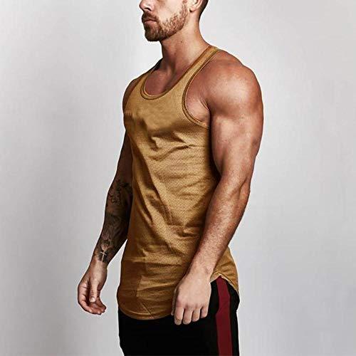 JFS Bodybuilding Stringer Tank Tops Mesh Sportswear Tanktop Fitness Men Gyms Clothing Muscle Sleeveless Shirts,Gold,M