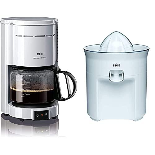 Braun KF 47/1 Cafetera de goteo, 1000 W, 1.2 L, 20 dB, acero inoxidable, blanco + TributeCollection CJ3050 Exprimidor Eléctrico, 60 w, Sistema Antigoteo, Tapa Incluida, Apto para Lavavajillas