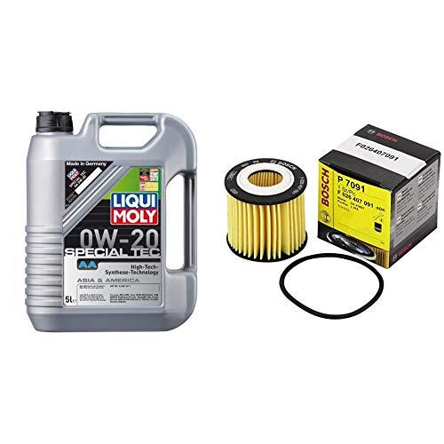 LIQUI MOLY 9734 Special Tec AA 0W-20 Motoröl, 5 L & Bosch F 026 407 091 Ölfilter