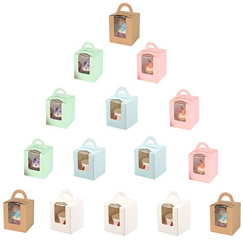 15 Piezas Cajas de Cupcakes para Regalo, Caja Pasteleria, Cajas para Pasteles...