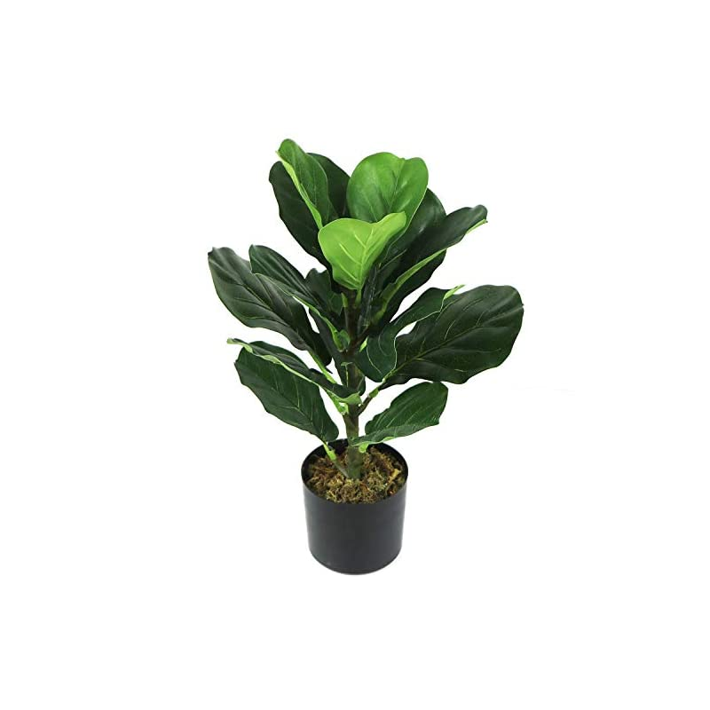 """silk flower arrangements ollain artificial fiddle leaf fig plant with potted 20"""" tall fake plastic faux ficus tree floor plant in pot for outdoor window box planter indoor outside home garde office room gardening decoration"""