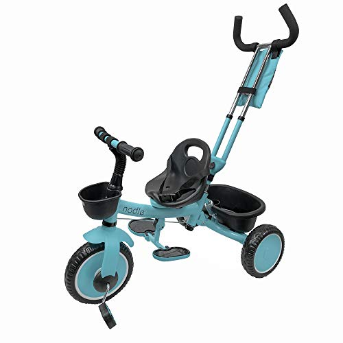 Nadle Blue Steer and Stroll Kids Trike for 2 Years Old 3 in 1 Up to 55Lb, 10-inch Wheels