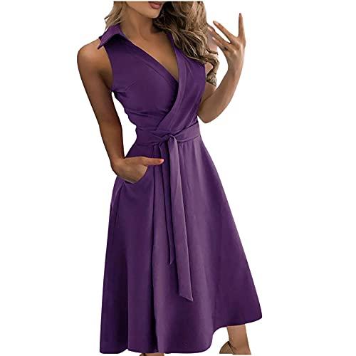 Vestido de mujer para mujer, informal, suelto, sin mangas, con cuello en V, hasta el tobillo, para fiesta, elegante, talla Reino Unido