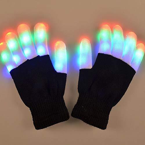 XXYHYQHJD Damen Herren Handschuhe Winter Glow Party Supplies LED Rave Flashing Glove Glow 7-Modus leuchten Fingerspitzen Beleuchtung Pair