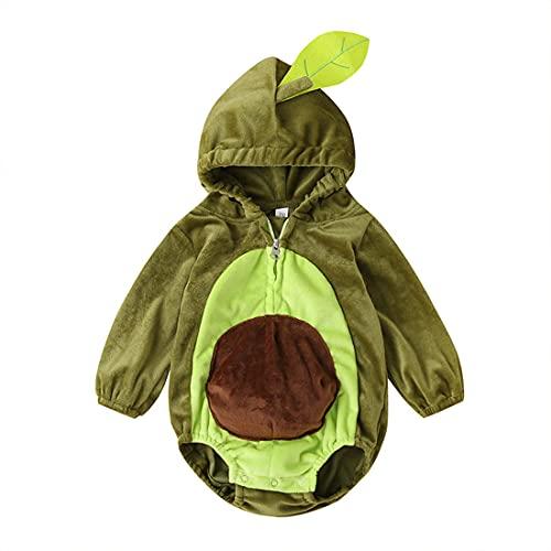 Mono Disfraz Bebé con Estampado de Aguacate Avocado Mono Casual de Mangas Largas con Capucha Cremallera y Botones Ropa de Cumpleaños Fiesta de Otoño Invierno para Bebé Niños (Verde, 12-18 Meses)