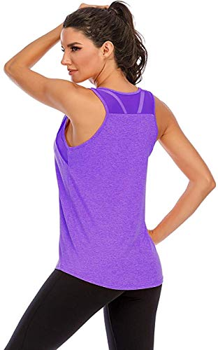 Nekosi Damen Yoga Tanktops Ärmelloses Sportshirt Kleidung Mesh Zurück Fitness Laufen Shirt Sport Oberteile Lila X-Groß