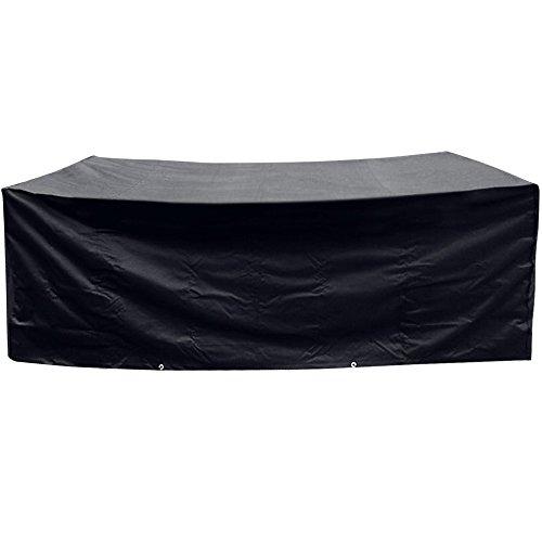 Anpro Nouvel Design Housse Protection 200x160x70cm avec 2pcs Scratchs Ajustable Bâche Housse Salon de Jardin Imperméable Anti-poussière Antisolaire 210T Oxford pour Meubles de Jardin-Noir