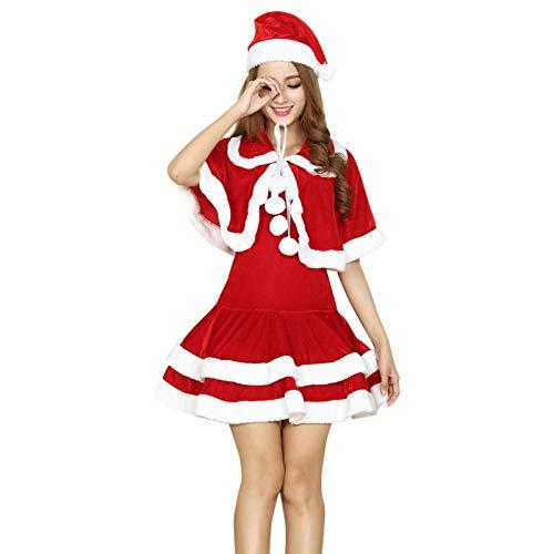 N-B Vestido de Papá Noel para mujer, color rojo, para otoño e invierno, para fiestas de Navidad, sexy, de Santa Claus