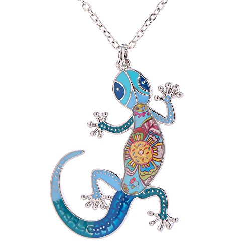 Luckeyui Lizard Pendant Necklace for Women Colorful Enamel Gecko Pendants Gifts for Birthday
