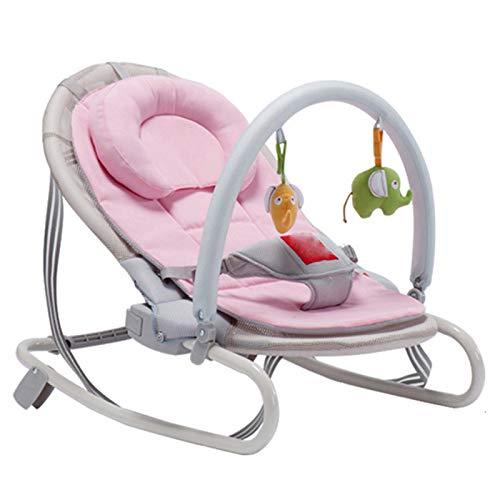 KUKU Swing de bebé, Silla Mecedora de bebé Multifuncional, Columpio portátil, diseño Plegable, Ajuste de 3 ángulos, Adecuado para bebés, niños (Azul/Rosa),Rosado