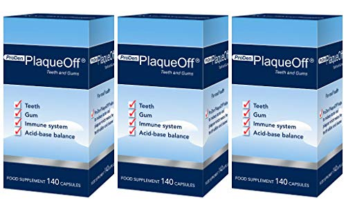 PlaqueOff Teeth Whitening Capsules | Helps Reduce Tartar & Plaques | Boost Dental Hygiene | Does NOT harm The Enamel Works, from Within Your Body, Patented, 3-Pack - gives You 6 + 1 FREE Month of use