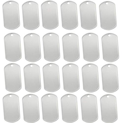 Orgrimmar 100 PCS Dog Tags Shiny Stainless Steel Military spec Rolled Edge Backing Dog Tags for Dogs Engraved- Blank
