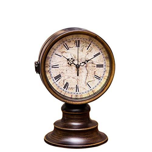 Relojes de mesa para sala de estar Decoración del reloj de escritorio Estilo retro creativo Hierro forjado Sala de estar Reloj de doble cara Reloj de metal de bronce decorado en silencio Relojes de me