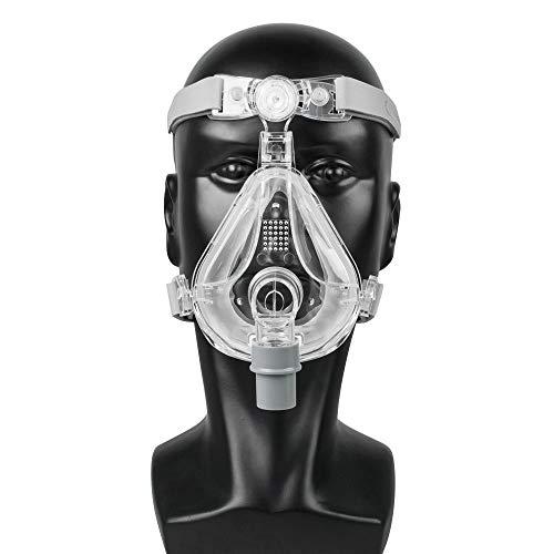 Vollgesichtsmaske CPAP Auto CPAP BiPAP-Maske für Schlafapnoe Schnarchende Menschen mit kostenlos verstellbarer Kopfbedeckung (M)