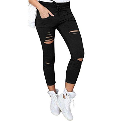 Pantalons,Malloom Pantalons Skinny Femmes Déchirés Haute Stretch Taille Crayon Mince Pantalon (L, Noir)