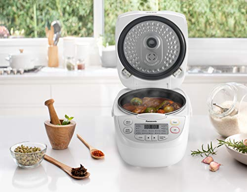 Panasonic 5 Cup (Uncooked) Rice Cooker with Pre-Programmed Cooking Options for Brown Rice, White Rice, and Porridge or Soup - 1.0 Liter - SR-CN108 (White)