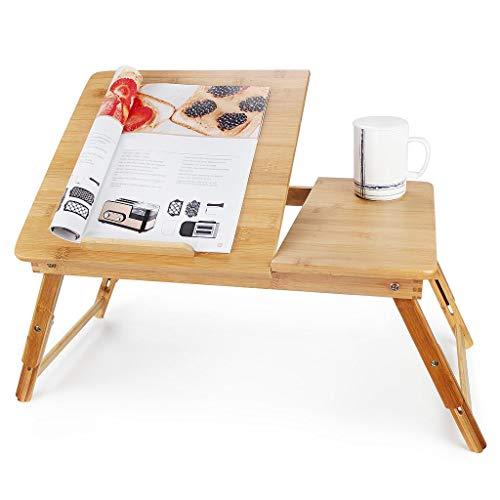 Todeco - Bandeja de Cama Plegable, Mesa Portátil para Laptop, Escritorio ajustable con la ventilación grande, Material: Bambú, Tamaño de la superficie de la mesa: 55,1 x 35,1 cm