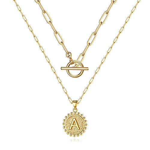 Dainty Layering Initial Necklaces for Women, 14K Gold Plated Coin Pendant Gold Necklaces for Women Gold Paperclip Chain A Initial Necklaces Gold Layered Necklaces for Women Simple Cute Gold Jewelry