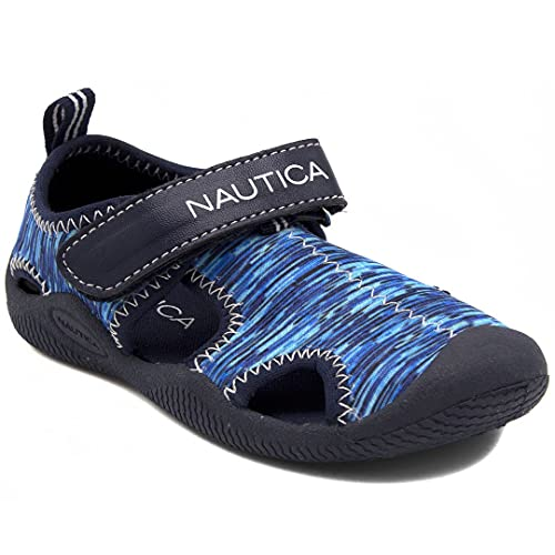 Nautica Kids Kettle Gulf Protective Water Shoe,Closed-Toe Sport Youth Sandal For Boys and Girls-Blue Multi 2-4