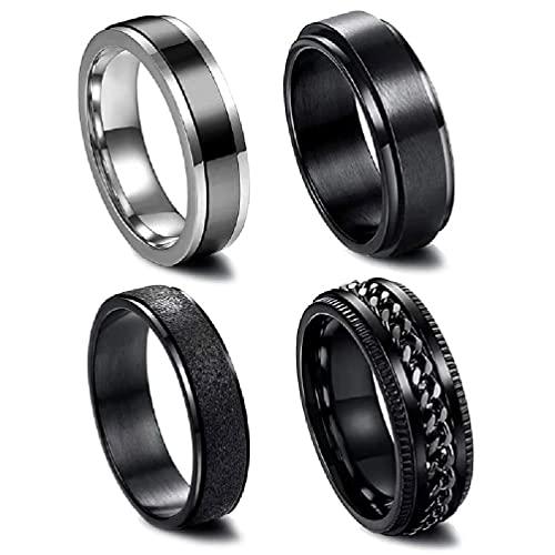 Juego de 4 anillos de acero inoxidable para hombres y mujeres, diseño moderno, bordes biselados, accesorios informales, anillos de manzana