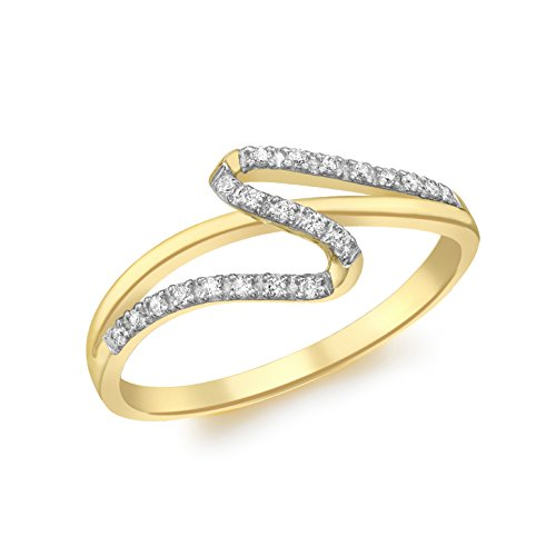 Carissima Gold Women's 9 ct Yellow Gold Cubic Zirconia Wave Band Ring, Size L