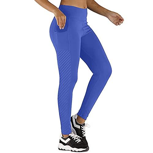 Junjie Leggings Mujer de Costuras de Color Liso con Bolsillos Pantalones Deportivos para Mujer Leggins de Levante los Cadera Pantalón de Deporte Transpirables Elásticos Mallas Yoga y Pilates