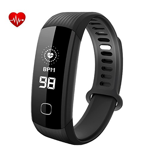 Chiristmas Gift Fitness Tracker, Hartslagmeter Tracker Smart Armband Activiteit Tracker Bluetooth Stappenteller met Slaapmonitor Smartwatch voor iPhone 7 7 Plus 6 Samsung S8 Android of iOS Smartphones