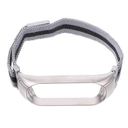 Baluue Reloj de Acero Inoxidable Protector de Reloj de Metal Marco de Metal Correa de Reloj Compatible con Xiaomi Mi Band 5 Silver