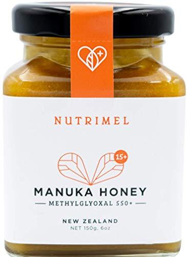NUTRIMEL Miel de Manuka 15+ (MGO 550+) probado y certificado | 100{4cc2d87e9e1c54324a2bf4cc79216bde5e46690a4046642d1e949c5dcb2222f0} pura Nueva Zelanda | (15+, 150)