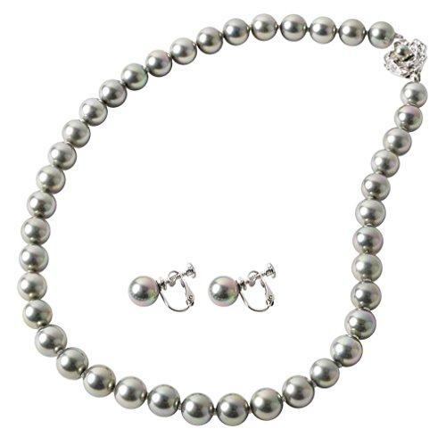 [まつよ 花珠貝パール] パールネックレス イヤリングセット グレー 灰色 黒真珠 9mm 45cm 冠婚葬祭 フォーマル 葬式 日本製