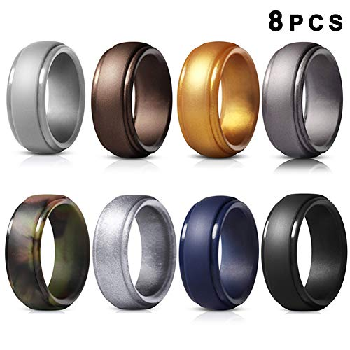 Huaheng 8 STKS Siliconen Vinger Ring Flexibele Hypoallergene Sport Wedding Engagement Ring voor Mannen Vrouwen 14