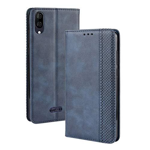 MOONCASE Wiko Y80 Hülle, Premium Leder Hülle Flip Hülle Schutzhülle mit Kartenfach & Ständer Handyhülle für Wiko Y80 - Blau