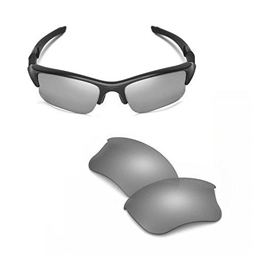 Walleva Ersatzgläser oder Gläser/Gummi-Set für Oakley Flak Jacket XLJ Sonnenbrille Gr. S, Titan, spiegelbeschichtet, Mr.shield polarisiert