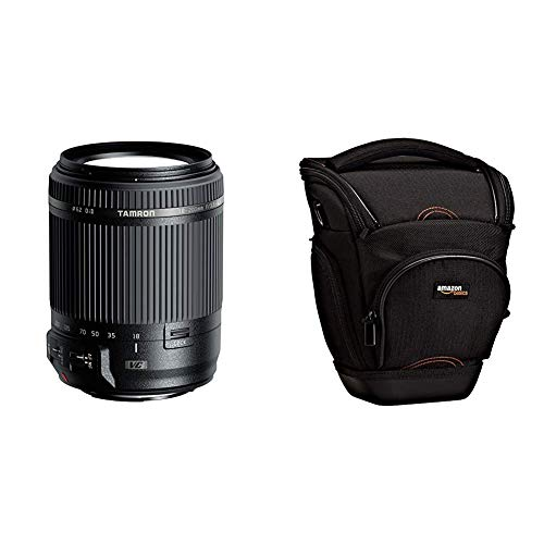 Tamron 18-200mm F3.5-6.3 Di II VC Canon & AmazonBasics SLR-Schultertasche (schwarz)
