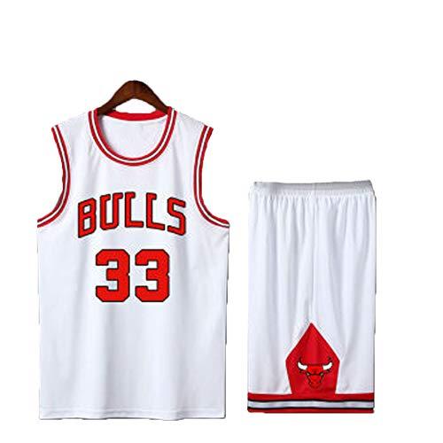 Baloncesto Jersey Bulls 33# Pipon Camiseta de Hombre, Sudadera Chaleco de Fitness Camisa sin Mangas Pantalones Cortos Camiseta Unisex, Gimnasio Work out Street Performance Recopilar-White-XXXL