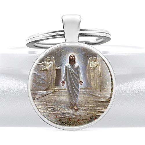 YXDEW Resurrección de Jesús Cúpula de Vidrio Colgante Llavero Charm Hombres Mujeres Anillos Llavero Joyería Christian Regalos Llaveros Accesorios