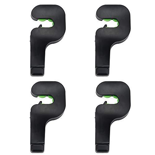 Limeow Universele hoofdsteunen, 4 stuks, voor de auto, hoofdsteun, kleerhangers, haken, autoachterbank, hoofdsteun, haken, voor levensmiddelen, kledingtas, zwart