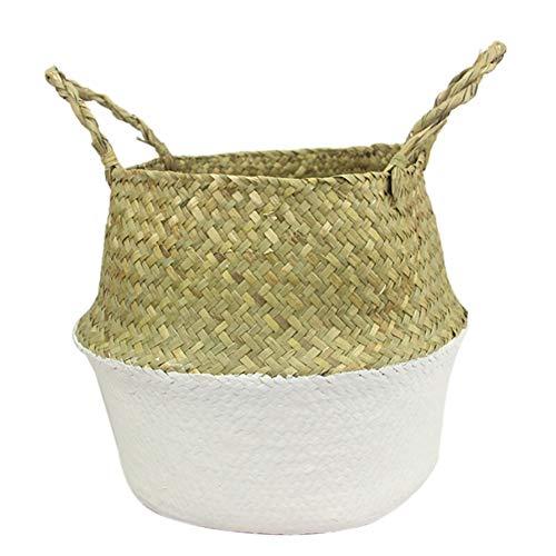 Zeegras rieten mand rotan opvouwbare opknoping bloempot geweven plant mand pot Wasserij mand met handvat Dia.27 * 24cm(H) Kleur: wit