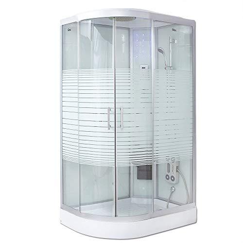 Home Deluxe - Dampfdusche 120x80 Links - Komplettdusche White Pearl mit Regendusche | Duschtempel, Fertigdusche, Dusche, Duschkabine Komplett