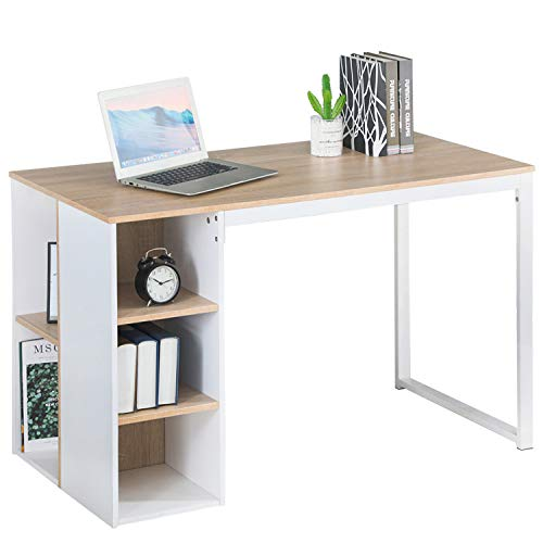 Office Computer Writing Desk with Storage, Large Work Desk with 5 Shelves Students Study Table Home PC Laptop Table Modern Wood Workstation with Metal Legs, Beech White