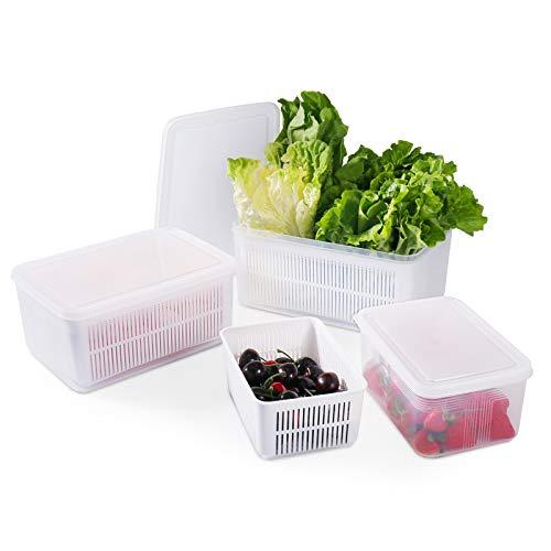 77L Recipiente de Almacenamiento de Alimentos, (Paquete de 3) Recipiente de Almacenamiento de Frescas con Colador, Congelador Apilable, Organizadores de Alimentos para Almacenar Frutas y Verduras