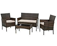 ✎〖INDOOR & OUTDOOR〗:Thickly Cushioned Wicker Patio Sofa Set Chairs For Maximum Comfort, Patio Outdoor Sofa Gives You A Excellent Seating Experience.Our Garden Outdoor Conversation Set have strong feet to protect your floor and increase the stability ...