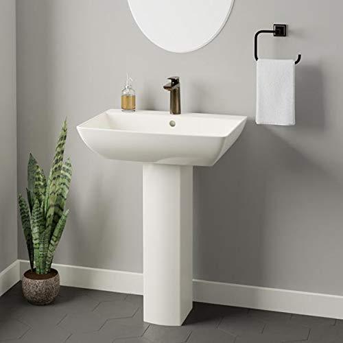 Magnus Home Products Jesup 200 Vitreous China Pedestal Bathroom Sink, Single-Hole, 23 3/4